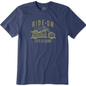 Life is Good Motorcycle Ride On Crusher Tee M